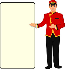bellboy hotel service and blank sign