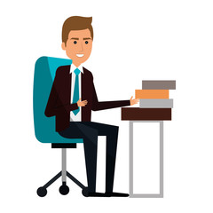 businessman in workplace avatar character icon vector illustration design