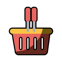 silhouette color with plastic shopping basket with half shadow vector illustration