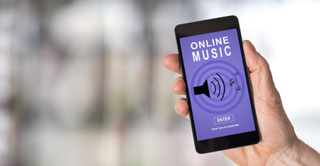 Online music concept on a smartphone