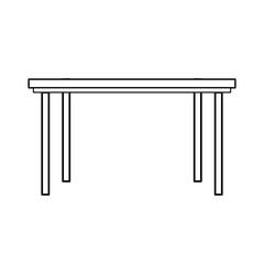 wooden table furniture ornament outline vector illustration
