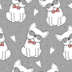 seamless pattern with Black and white vector sketch of a dog.