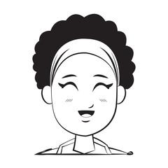 cartoon character woman face design vector illustration