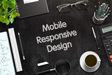 Black Chalkboard with Mobile Responsive Design Concept. 3d Rendering. Toned Illustration.