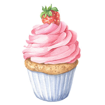 Watercolor strawberry cupcake, hand drawn delicious food illustration, isolated on white background