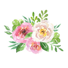 Beautiful floral hand drawn watercolor bouquet, bunch of flowers arrangement, with pink roses, white and purple flowers, isolated on white background. Can be used for botanical or wedding design.