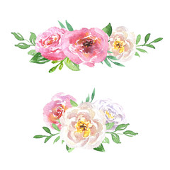 Beautiful floral hand drawn watercolor bouquets set, bunch of flowers arrangement, with pink roses, white and purple flowers, isolated on white background. Can be used for botanical or wedding design.