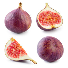 Fresh fig. Fruit with half and quarter isolated on white background. Collection.