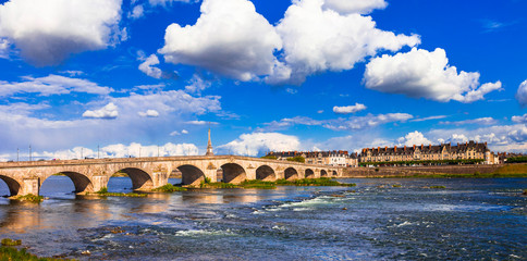 Landmarks of France - Historical Blois town, view with bridge. Loire valley river