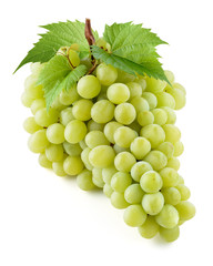 Green grape. Bunch of fresh berries with leaves isolated on white. With clipping path. Full depth of field.