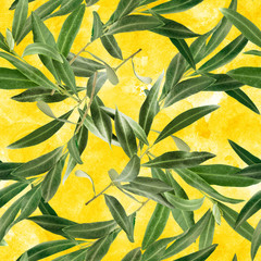Seamless pattern with olive tree branches on golden yellow
