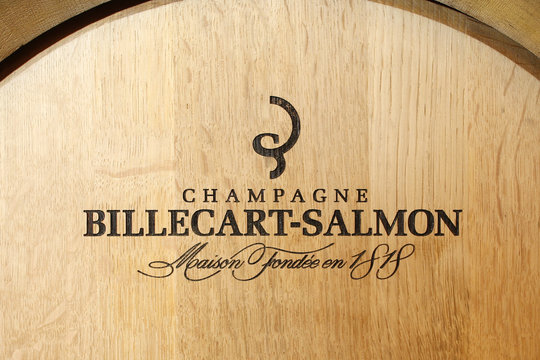 A barrel bearing the logo of the Billecart-Salmon Champagne house is seen in the winery in Mareuil-sur-Ay, eastern France during the traditional Champagne wine harvest