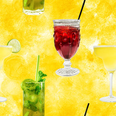 Seamless pattern of vibrant cocktails photos on golden