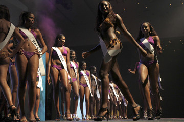 Contestants pose on the stage during the 24th edition of the Most Beautiful Girl in Nigeria(MGBN) beauty pegeant in Lagos