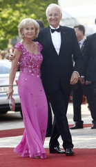 Former Bavarian State Premier Edmund Stoiber and his wife Karin arrive for opening of Bayreuth Wagner opera festival in Bayreuth