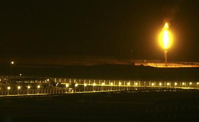 Shaybah oilfield complex is seen at night in the Rub' al-Khali desert, Saudi Arabia