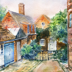 Old England. Street and rustic houses landscape.Medieval architecture. Watercolor hand drawn illustration.