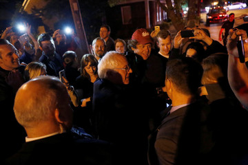 U.S. Democratic presidential candidate Bernie Sanders (I-VT) greets supporters outside the New Albany-Floyd County Public Library in New Albany, Indiana