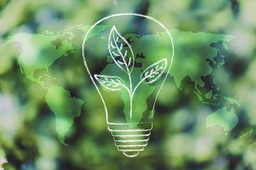 lightbulb with leaves inside over world map overlay on green forest bokeh