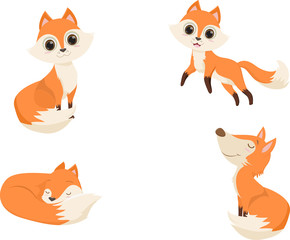 cute red fox cartoon in various poses. vector illustration