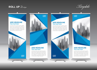 Blue Business Roll Up Banner flat design template, polygon background