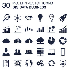Set of 30 quality icons about big data business technology