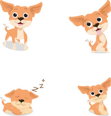 funny cartoon brown chihuahua dog in various pose