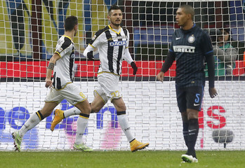 Udinese's Thereau celebrates after scoring a second goal against Inter Milan   during their Italian Serie A soccer match in Milan