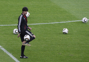 German soccer team coach Loew attends training session of German team in Berlin