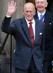 Britain's Prince Philip leaves after presenting Royal Medals at the Royal Society of Edinburgh, in Edinburgh