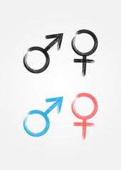 Male and female symbol. Icons drawn with a brush.