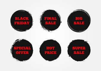 Set of stickers Super Big Final Sale, Black Friday, Hot Price, Special Offer. Painted with a rough brush.