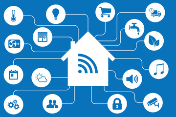 Smart home automation and internet of things (IOT) illustration