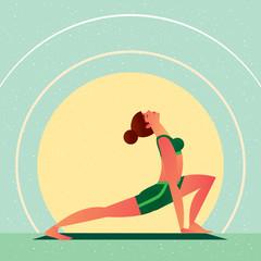 Sporty girl standing in the Yoga Open Heart Chakra Hand Bound Warrior Pose or Anahata Chakra Baddha Hasta Virabhadrasana, in flat cartoon style. Side view