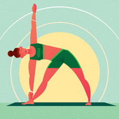 Sporty girl standing in the Triangle Pose or Trikonasana, against the background of the sun, in flat cartoon style. Yoga or Pilates concept. Front view