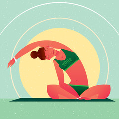 Sporty girl sitting in the Lotus Pose or Padmasana and tilts right, against the background of the sun, in flat cartoon style. Yoga or Pilates concept. Front view