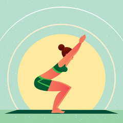 Sporty girl standing in the Chair Pose or Utkatasana, against the background of the sun, in flat cartoon style. Yoga or Pilates concept. Side view
