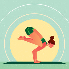 Sporty girl standing in the Crane Pose or Bakasana, against the background of the sun, in flat cartoon style. Yoga or Pilates concept. Side view