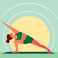 Sporty girl standing in the Extended Side Angle Pose or Utthita Parsvakonasana, in flat cartoon style. Yoga or Pilates concept. Side view