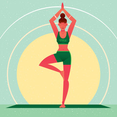 Sporty girl standing in the Tree Pose or Vrikshasana, against the background of the sun, in flat cartoon style. Yoga or Pilates concept. Front view