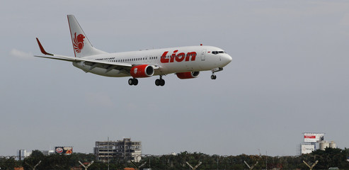 A Lion air plane prepares to land at the Sukarno-Hatta airport in Tangerang