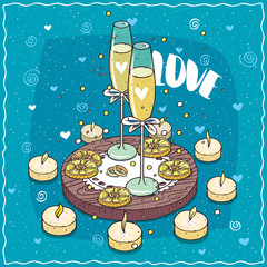 Romantic composition on wooden board, glasses of champagne or cider with bows and two wedding rings on lace napkin. Lettering Love. Hand drawn comic style