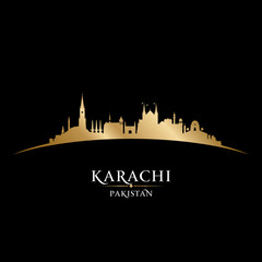 Karachi Pakistan city skyline silhouette black background
