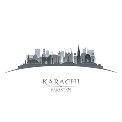 Karachi Pakistan city skyline silhouette white background