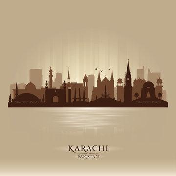 Karachi Pakistan city skyline vector silhouette