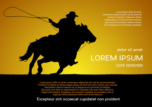 Rodeo competition tournament, sunset background. Vector poster cowboy and lasso on the horse