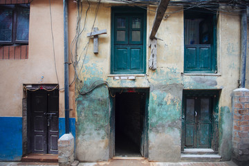 The country art of door, window and wall at Patan city in Nepal, after earthquake.