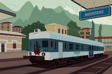 Scenic area with old retro train at railway station of European village. In the background the natural mountain landscape view. Realistic flat style