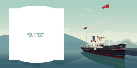 Template with big text field. Picturesque area with old pleasure boat in style of retro steamer, at pier, on clear day. Realistic flat style