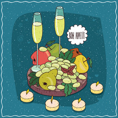 Romantic composition on wooden board, glasses of champagne or cider, bunch of white grapes, pears and colorful apples. Hand drawn still life in comic style
